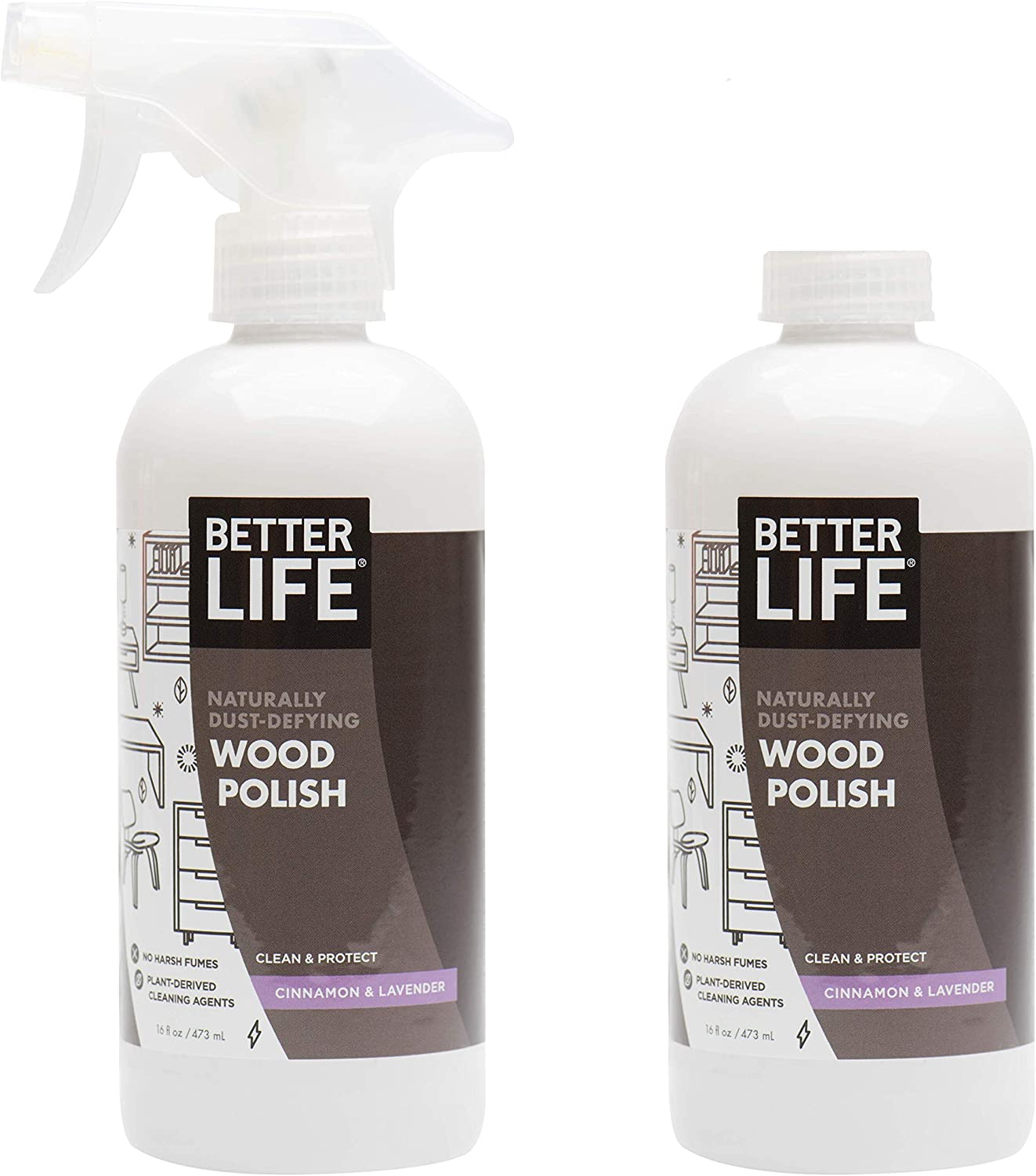 Better Life Natural Wood Polish, Lavender & Cinnamon , 16 Ounces (Pack of 2), 24193