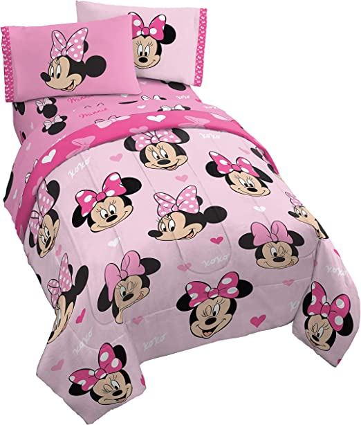 Jay Franco Disney Minnie Mouse Hearts N Love 5 Piece Full Bed Set -  Includes Reversible Comforter & Sheet Set - Super Soft Fade Resistant  Microfiber - ...