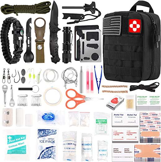 216 Pcs Survival First Aid kit, Professional Survival Gear Equipment Tools First Aid Supplies for SOS Emergency Tactical Hiking Hunting Disaster Camping Adventures(Black)