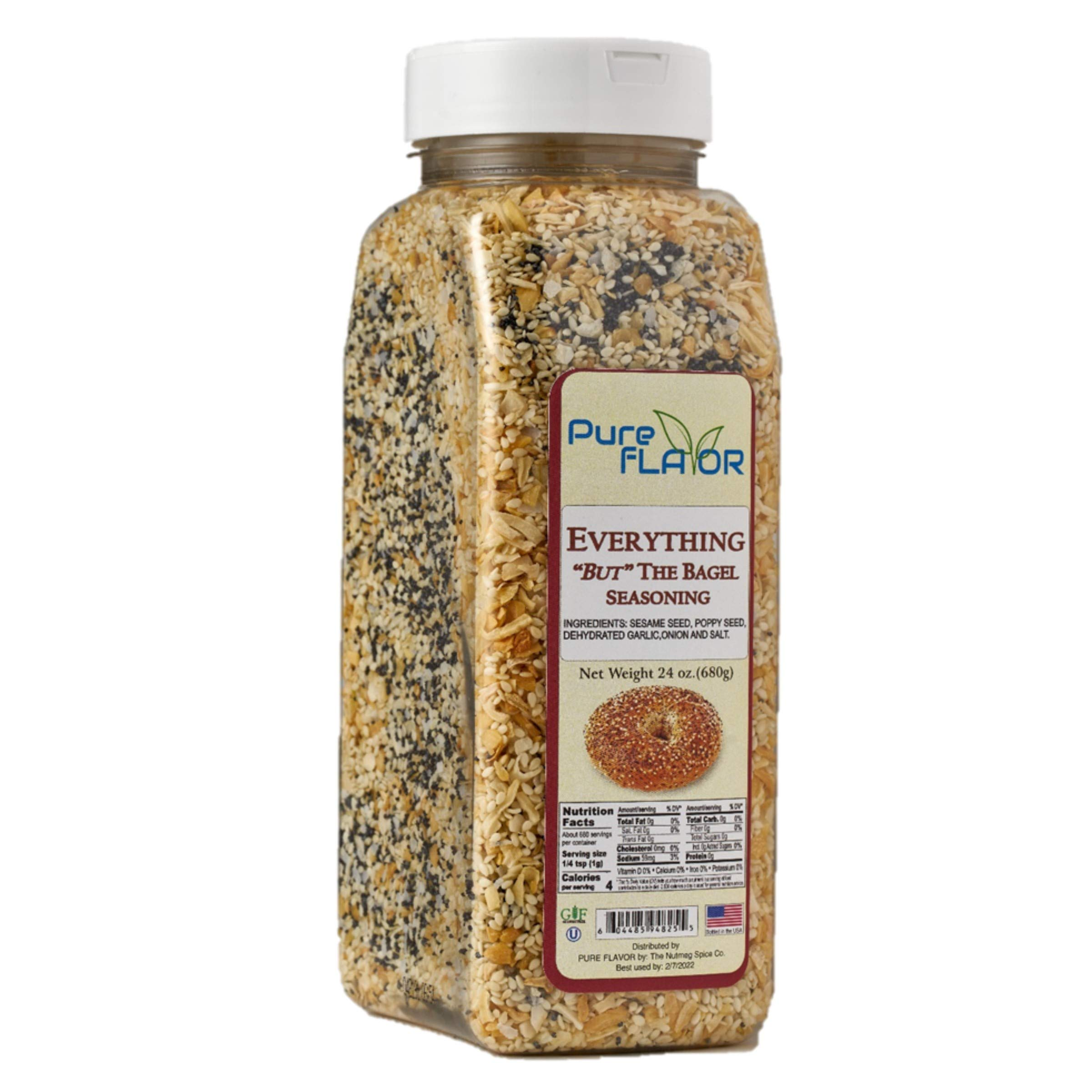 Everything Bagel Seasoning Blend, 24 oz Jar - All Natural, All Purpose Specialty Spice Mix - Sea Salt, Dried Onion, Poppy Seeds, Sesame, Garlic Powder and More