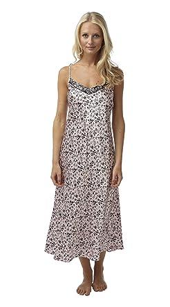 cb8dac23ac698 Ladies Long Satin Chemise Nightdress Black Floral on Pale Pink Sizes 8 - 22  (8): Amazon.co.uk: Clothing