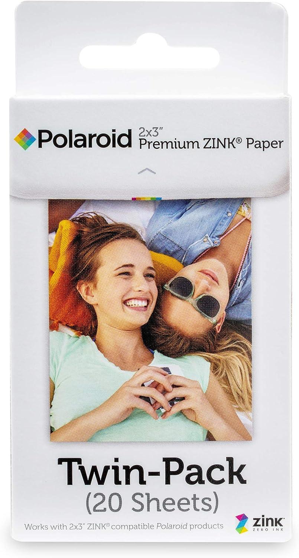 Zink Polaroid 2x3ʺ Premium Zink Zero Photo Paper 20-Pack - Compatible with Polaroid Snap/SnapTouch Instant Print Digital Cameras & Polaroid Zip Mobile Photo Printer