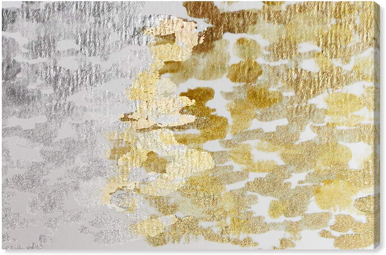 """The Oliver Gal Artist Co. Gold vs Platinum   Contemporary Premium Canvas Print The Abstract Wall Art Decor Collection, 24"""" x 16"""""""