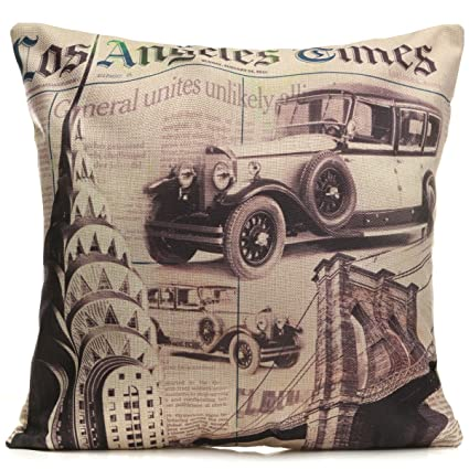 Bazaar Vintage Los Angeles Times Pattern Throw Pillow Case Sofa Office  Cushion Cover Home Decor