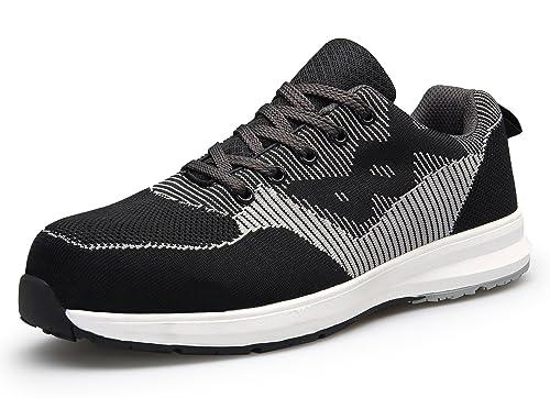 KOUDYEN Zapatillas de Seguridad para Hombre Zapatos de Trabajo con Puntera de Acero y Cordones: Amazon.es: Zapatos y complementos