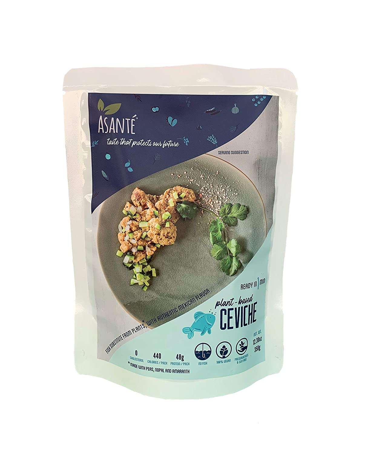 Asante Plant Based Meals - Plant Based Ceviche - Ready Meal Kits - Vegetarian Food, Healthy, Vegan – Fish Meat Substitute with Authentic Mexican Flavor - All Natural Fresh and Organic Ingredients