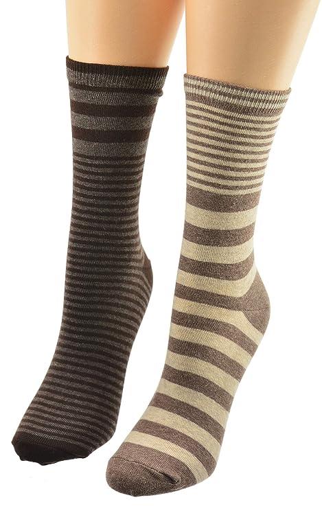 Sierra Socks Women 2-Pair Pack Striped Crew Cotton Socks 2276 (Large (9-11), Brown/Khaki) at Amazon Womens Clothing store: