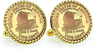 product image for American Coin Treasures Gold-Layered 2004 Keelboat Rope Bezel Cuff Links