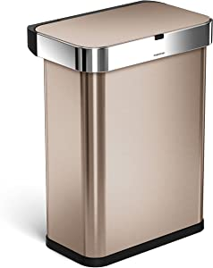 simplehuman 58 Liter / 15.3 Gallon Rectangular Voice and Motion Sensor Automatic Kitchen Trash Can, Rose Gold Stainless Steel