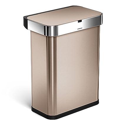 Simplehuman 58 Liter/15.3 Gallon 58L Stainless Steel Touch Free Rectangular Kitchen  Sensor Trash