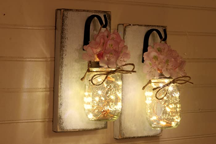 Rustic Wall Set Sconces Mason Jar Set Mason Jar Sconce Wall Decor Rustic Wall  Sconce Set