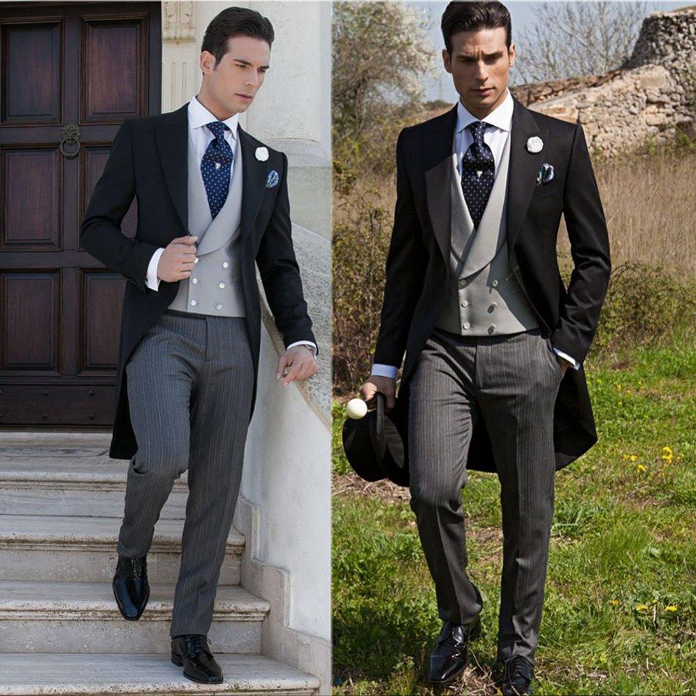 SHENLINQIJ One Button Tuxedo Wedding Groom Suits for Men Slim Fit 3 Pieces