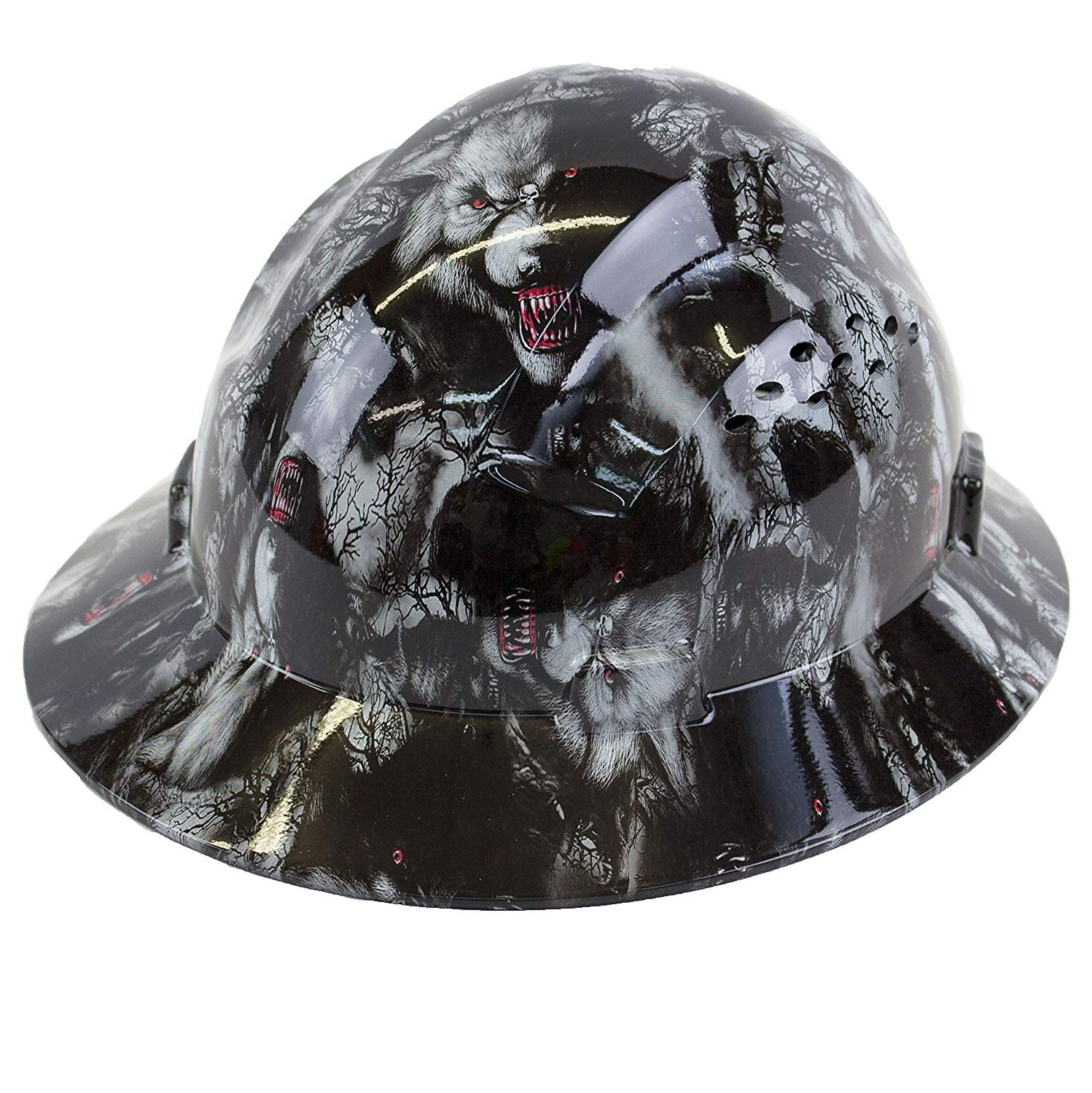 Troy Safety RK-HP44-WOLVES Patterned Hard Hat Full Brim Style with 4 Point Ratchet Suspension (Wolves)