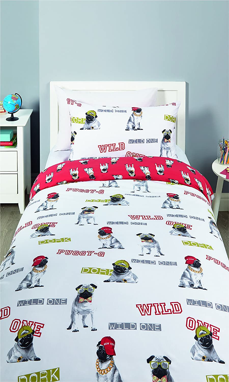 Kids Reversible Duvet Quilt Cover & Pillow Case Single Toddler (Kids Boys Check) Set by Pieridae