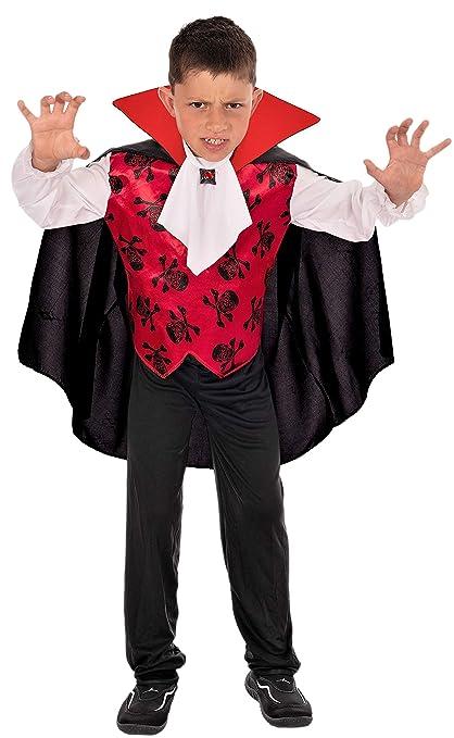 Magicoo Halloween GRAF Vampir Kostüm Kinder Jungen Gr. von 92 bis 140 Vampirkostüm Kind rot weiß schwarz (110116)