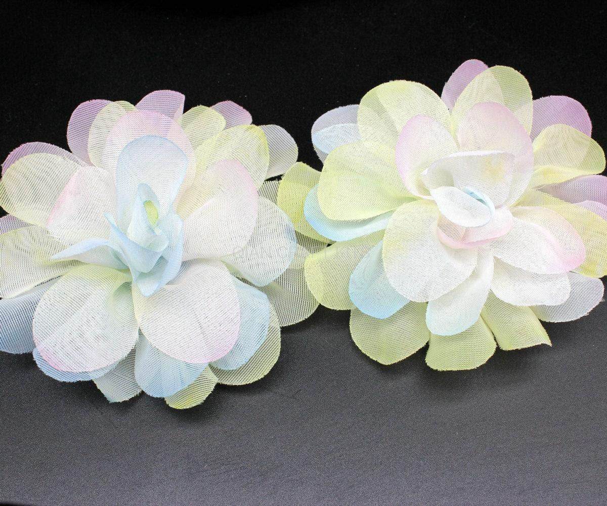 ASTONISH 50pcs of Tie Dye Over The Rainbow Organza DIY Flower Hair Bow Supplies 80mm braidsmaid Chiffon Deco