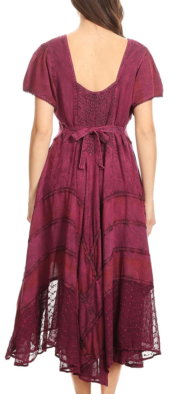 Sakkas Mila Long Corset Embroidered Cap Sleeve Dress with Adjustable Waist