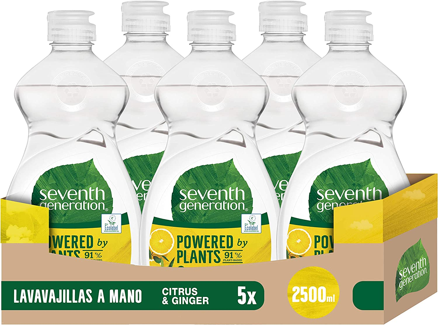 Seventh Generation Cítrico Lavavajillas a Mano, sin fragancias sintéticas y colorantes, Pack de 5 x 500 ml (Total: 2500 ml)