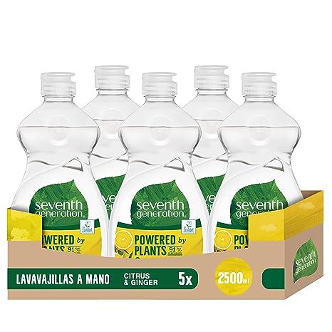 Seventh Generation Cítrico Lavavajillas a Mano, sin fragancias sintéticas y colorantes, Pack de 5 x 500 ml (Total: 2500 ml)