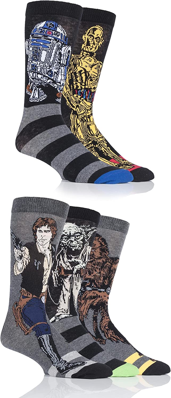 SockShop Men's 5 Pair Star Wars Yoda, Chewbacca, C3P0, R2-D2 and Han Solo Socks 7-12 Mens Assorted