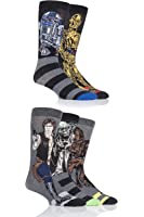 SockShop Mens 5 Pair Star Wars Yoda, Chewbacca, C3P0, R2-D2 and Han Solo Socks