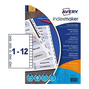 Avery 1640061 - Separador cartulina A4 de 12 posiciones ...