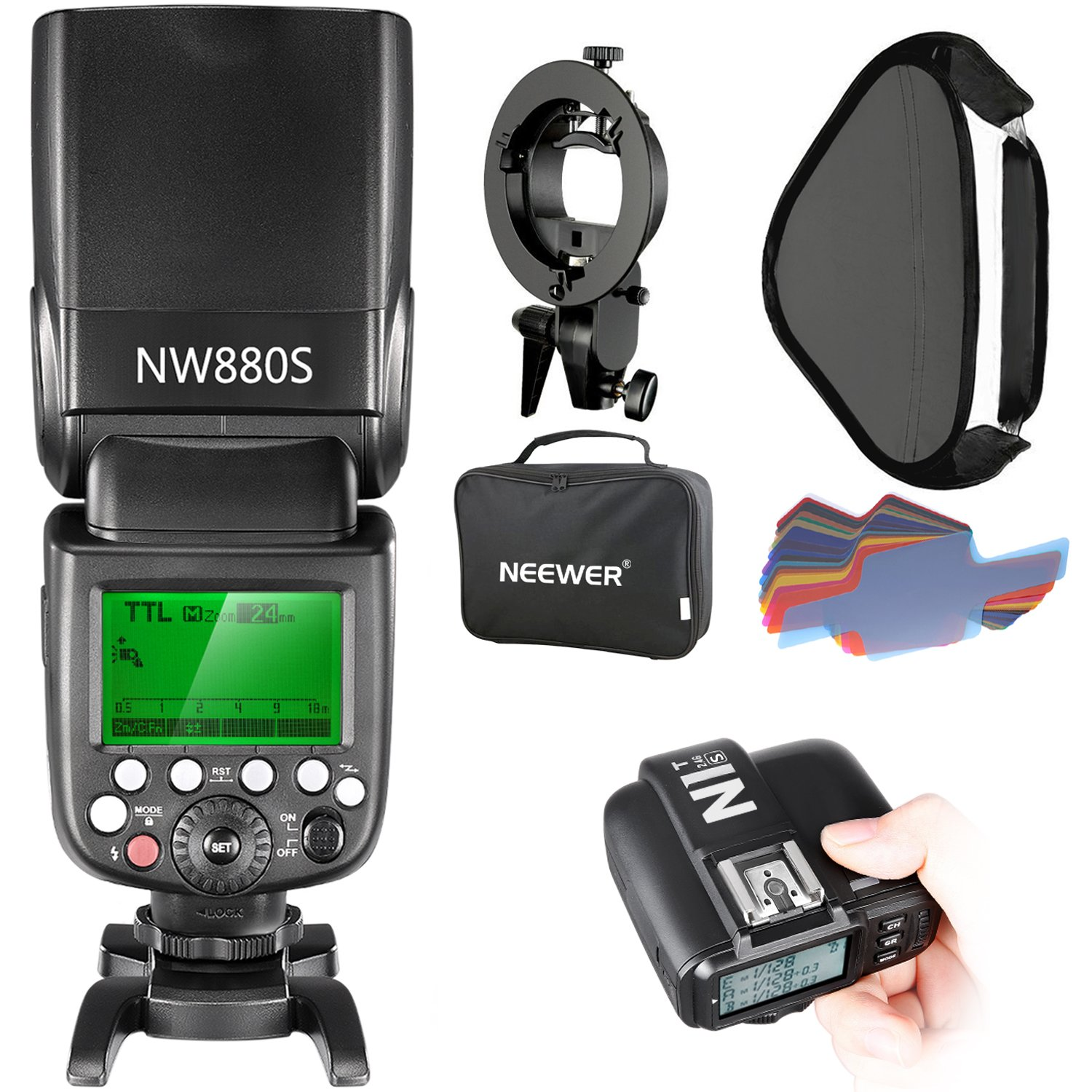 Neewer 2.4G Wireless 1/8000 HSS TTL Master/Slave Flash Speedlite Kit for Sony Camera with New Mi Shoe,Includes:NW880S Flash,N1T-S Trigger,S-Type Bracket,16x16 inches Softbox,20 Pieces Color Filter by Neewer