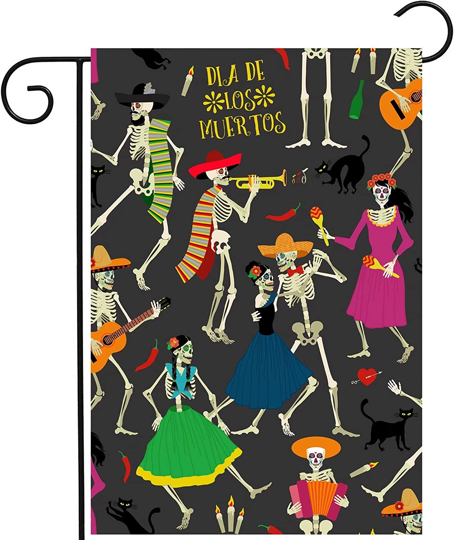 "ShineSnow Dia De Los Muertos Calavera Cats Sugar Skull Skeleton Dance Garden Yard Flag 12""x 18"" Double Sided Polyester Welcome House Flag Banners for Patio Lawn Outdoor Home Decor"