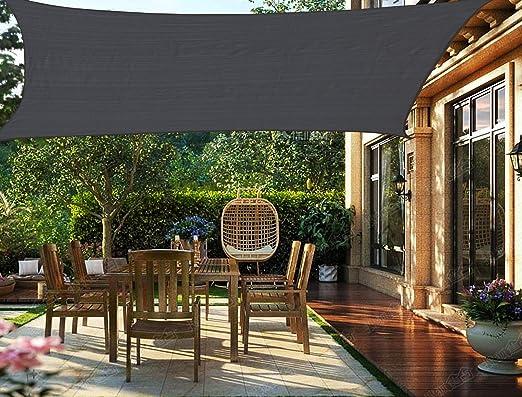 HENG FENG Toldo Vela de Sombra Rectangular 3.5 x 5 m Protección Rayos UV Solar Protección HDPE Transpirable Aislamiento de Calor para Dar Sombra a su Jardín Color Antracita: Amazon.es: Jardín