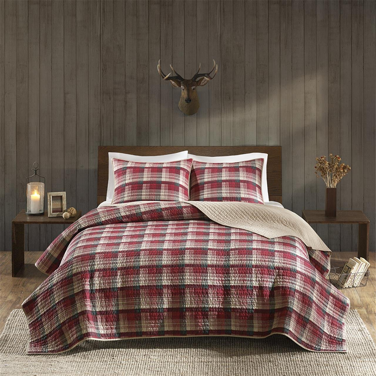 Amazon.com: Woolrich WR14-1785 Tasha Quilt Mini Set Full/Queen Red ... : woolrich quilted blanket - Adamdwight.com