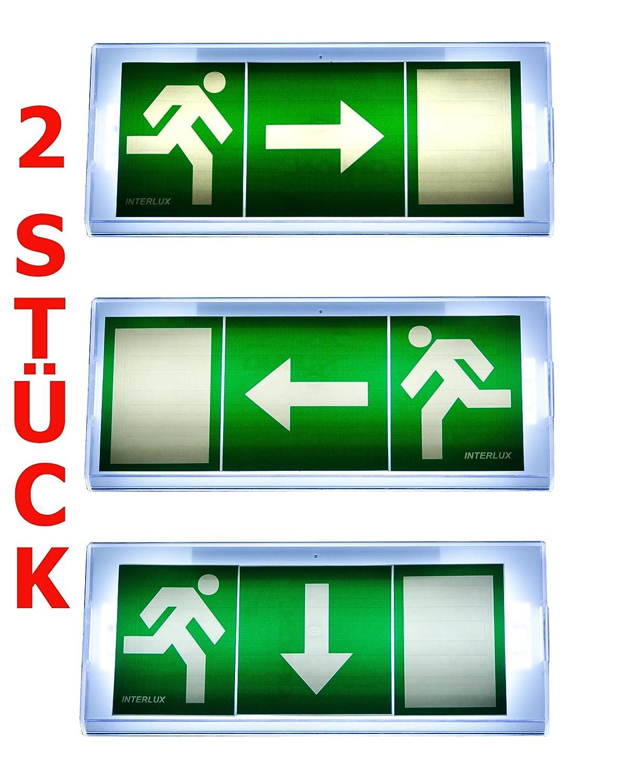 Lot de 2 Lampe d'urgence É clairage d'urgence Exit sortie de secours fuite Lampadaire Lumiè re d'urgence fuite voie Exit Il PF InteRl