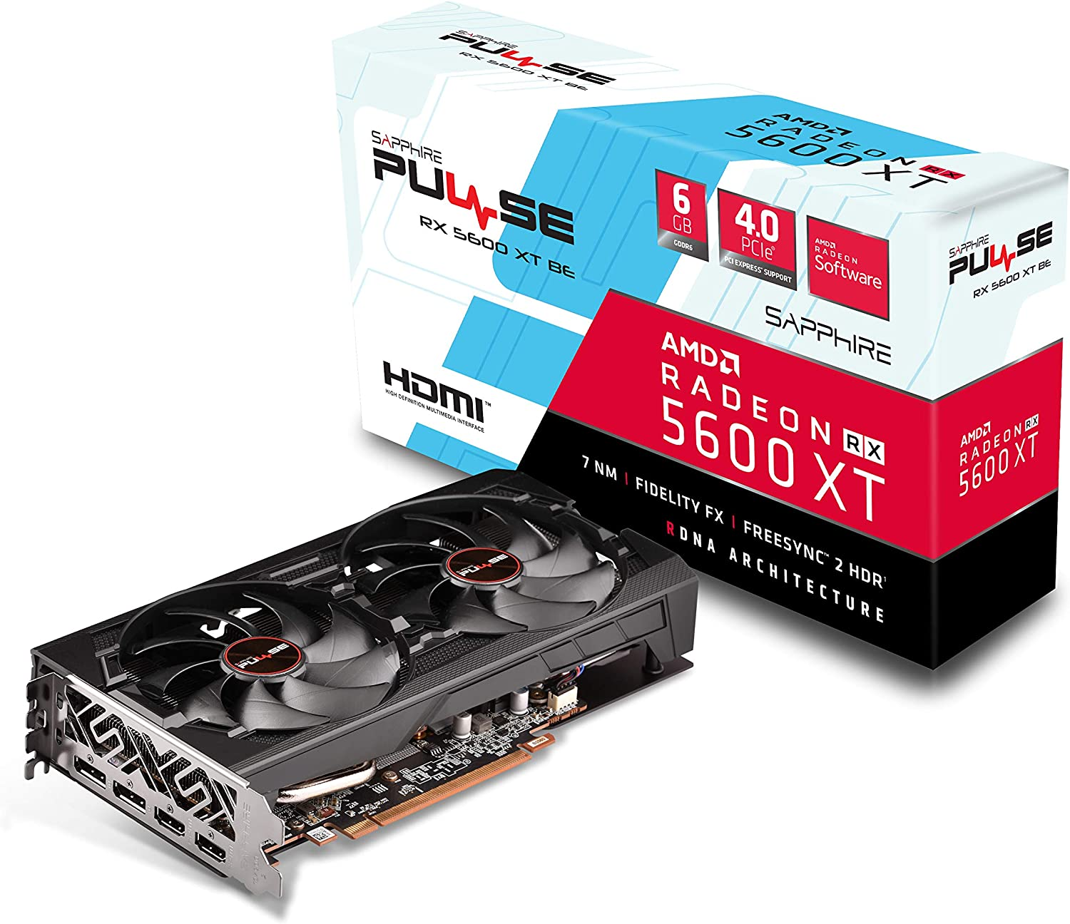 Sapphire 11296-05-20G Radeon Pulse RX 5600 XT BE 6GB GDDR6 Dual HDMI / Dual DP OC w/ backplate (UEFI) PCIe 4.0 Graphics Card