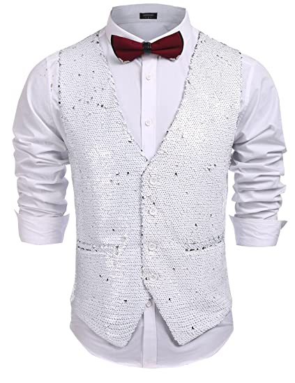 Jinidu Mens Slim Fit Shiny Sequins Vest waistcoat For Party,Wedding,Nightclub