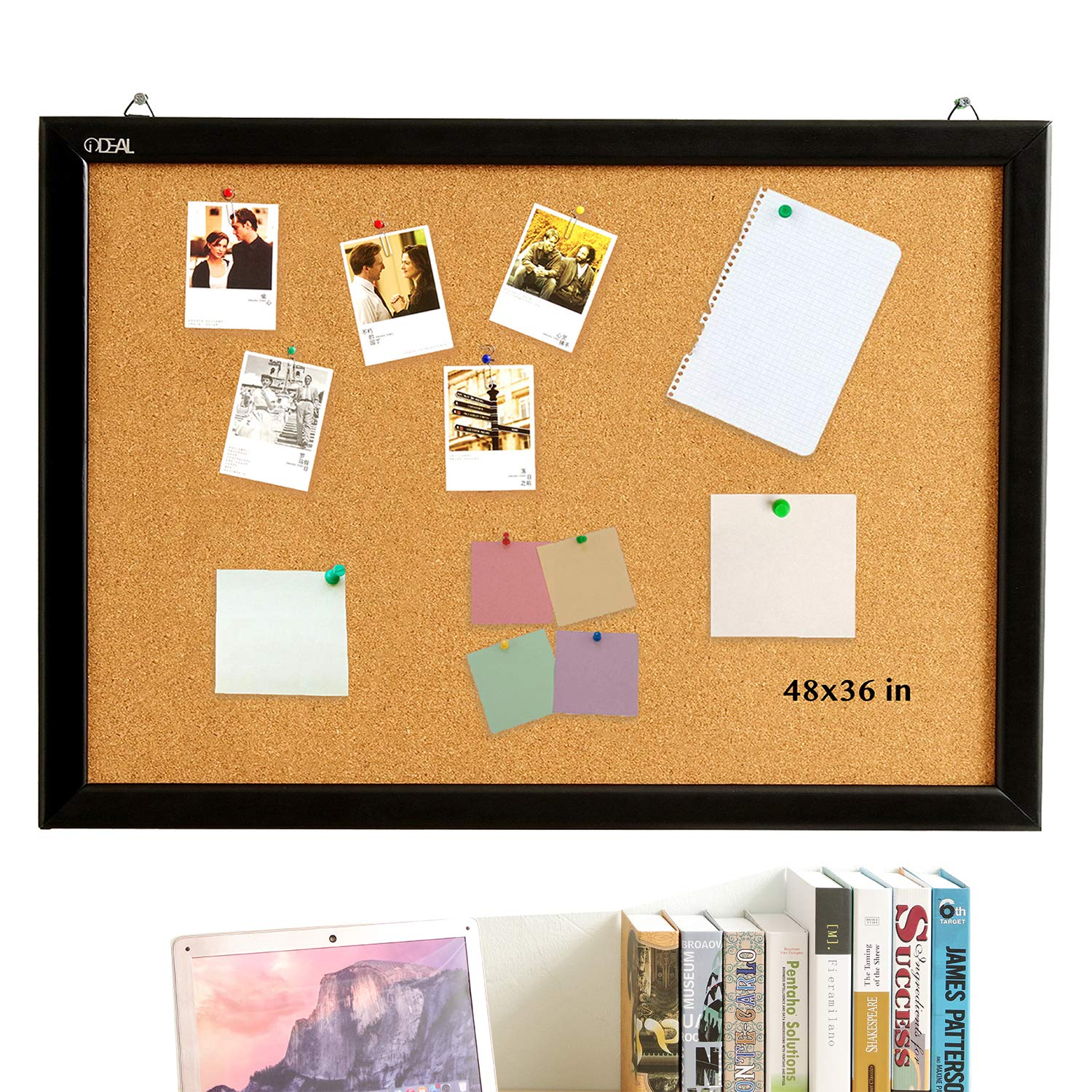 Cork Board Bulletin Board 48 x 36 Inch, 100% Wood Frame Brazil Imported, Environmental Natural Cork Surface, Mounting Hardware, Push Pins Included by gideal