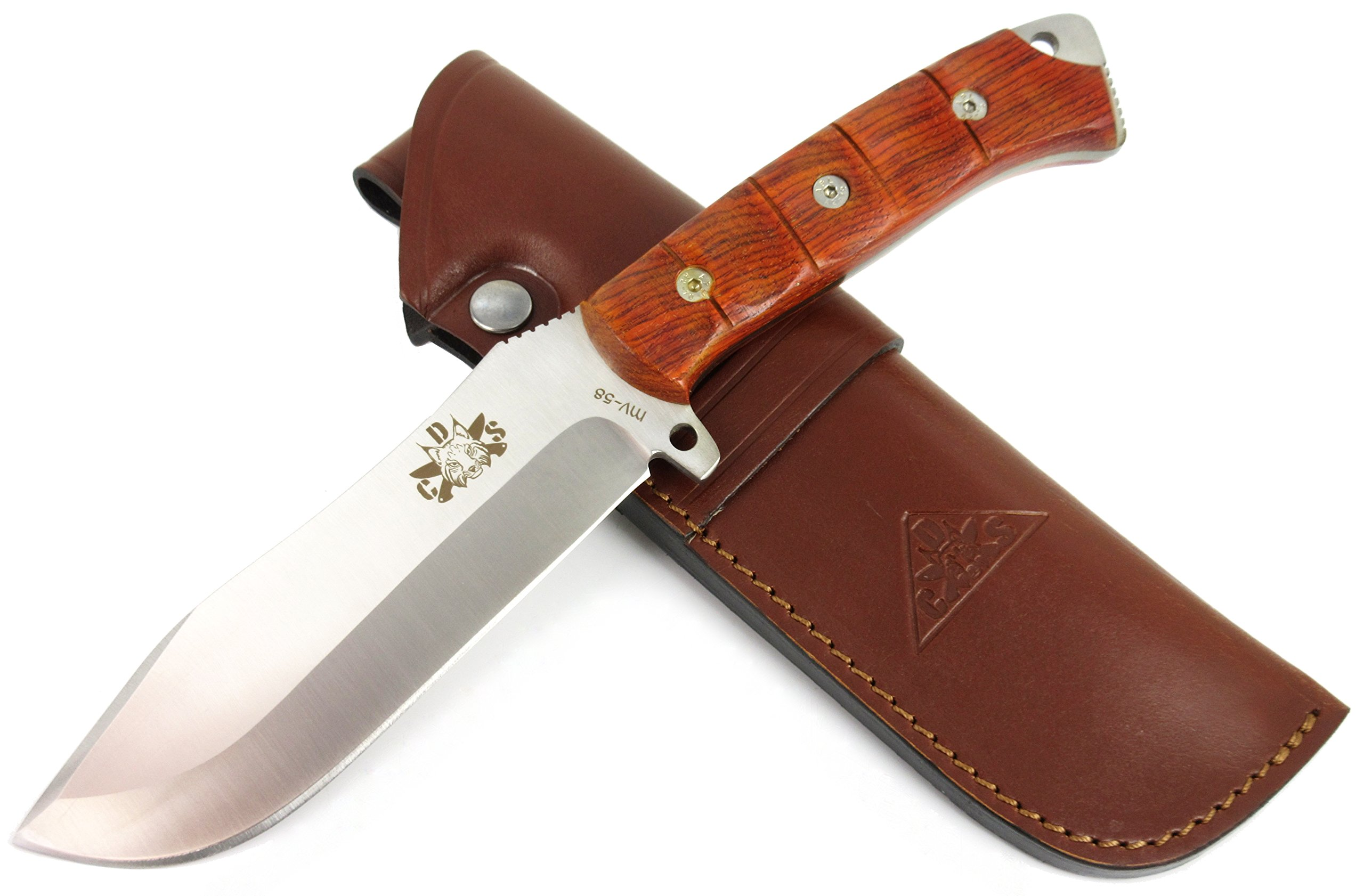 TARTESSUS ONE - Outdoor / Survival / Hunting / Tactical Knife - Cocobolo wood handle, Stainless Steel MOVA-58 - Genuine Leather Sheath. Made in Spain