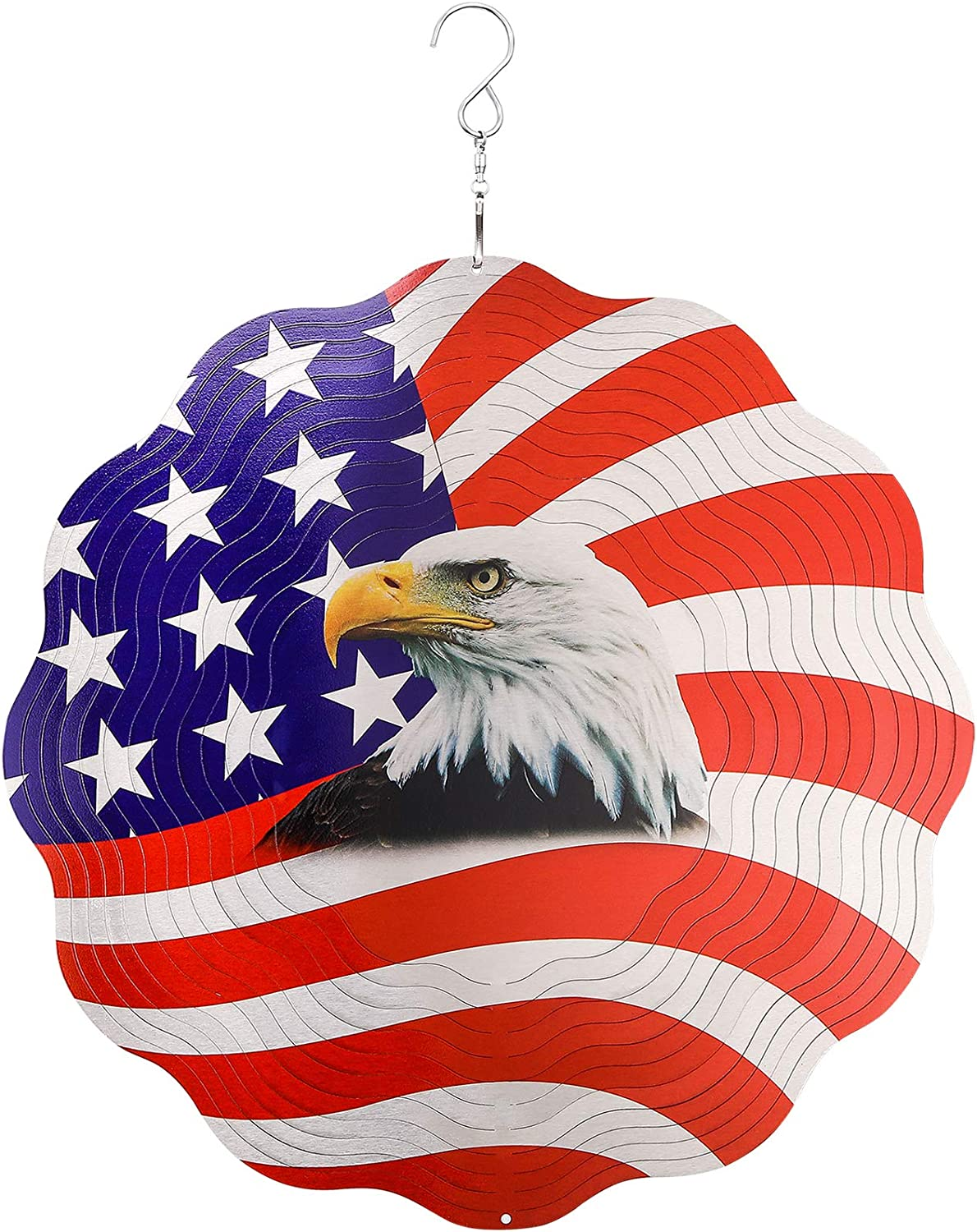 Metal Wind Spinners Outdoor Large,American Eagle Craft Spinner Hanging Patio Decor,12inch Yard Ornaments 3D Kinetic Spinner,Patriotic Flag Wind Spinner Gift,USA Wind Catchers & Spinners for Garden Art