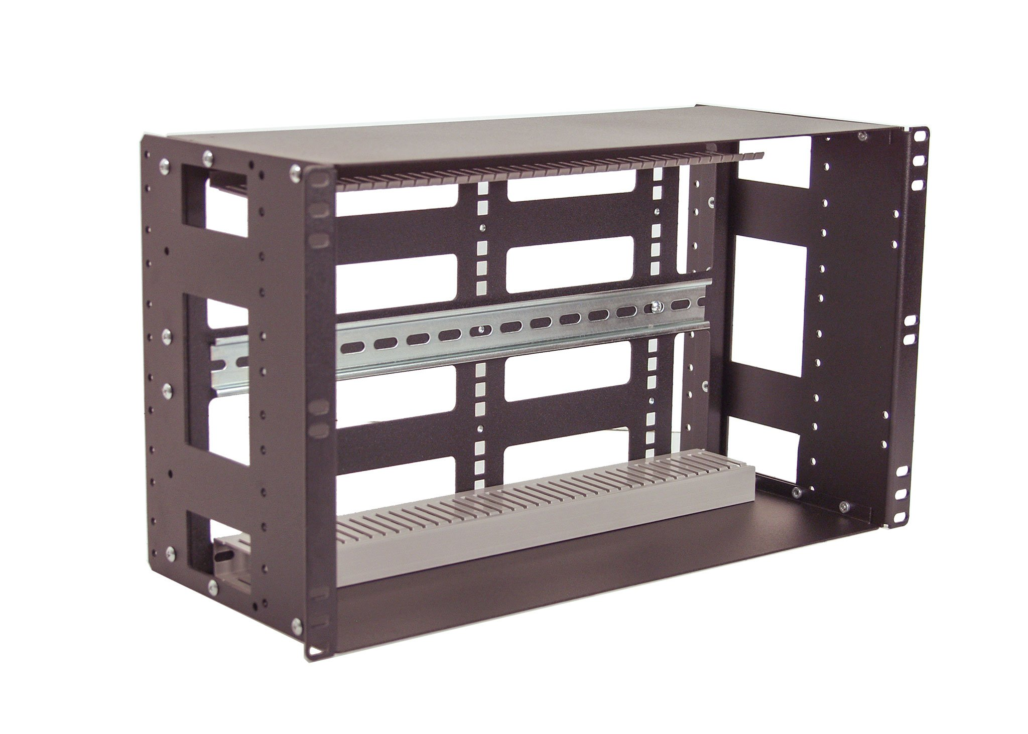 IRP208DB-6U Fully Enclosed Rackmount 6U Compact 8'' Deep Industrial Din Rail Panel for 19'' 2-Post relay rack or 4-Post Rack Cabinet