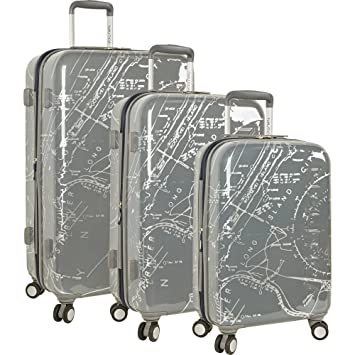 d61dcc1a531e Nautica Shipyard 3 Piece Hardside Suitcase Set, Map-Grey