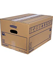 SmoothMove Heavy Duty Double Wall Cardboard Moving and Storage Boxes with Handles, 39 Litre, 26 x 32 x 47 cm, 10 Pack