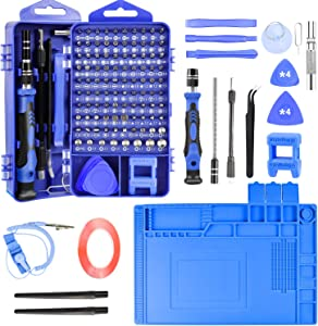 Precision Screwdriver Set Computer Repair Kit, 128 in 1 Magnetic Repair Tools with Anti-Static Mat, ESD Wristband, Screw Driver Kit for Phone/Mac/Pad/Laptop/Eyeglass/Xbox/PS4/Nintendo Switch/Watch