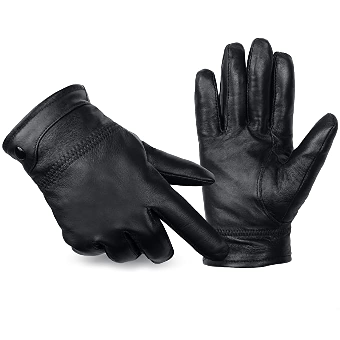 buy online 7cbe0 5c26e ANVEY Herren Winter Lederhandschuhe Warm gefütterte Handschuhe aus 100%  Leder