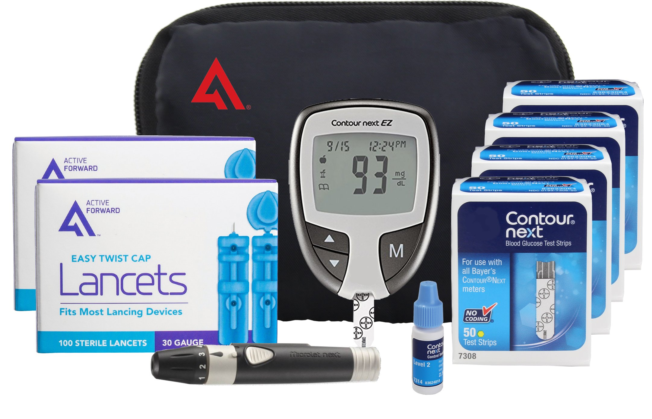 Contour NEXT Diabetes Testing Kit, 200 Count | Contour NEXT EZ Meter, 200 Contour NEXT Test Strips, 200 Lancets, Lancing Device, Control Solution, Manuals, Log Book & Carry Case