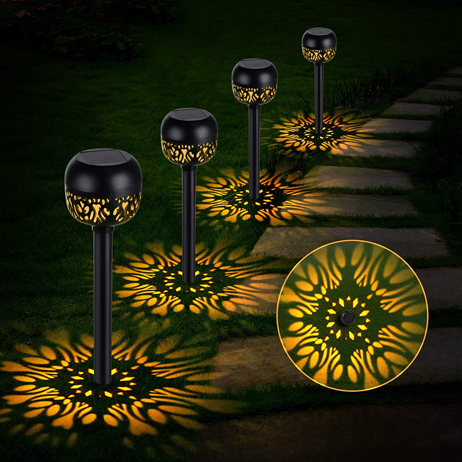 OOWOLF Solar Pathway Lights Outdoor, 4 Pack Solar Powered Garden Lamp Solar Landscape Lights IP65 Waterproof Led Path Lamp Decorative Lighting for Patio Lawn Yard Landscape, Warm-Red Light