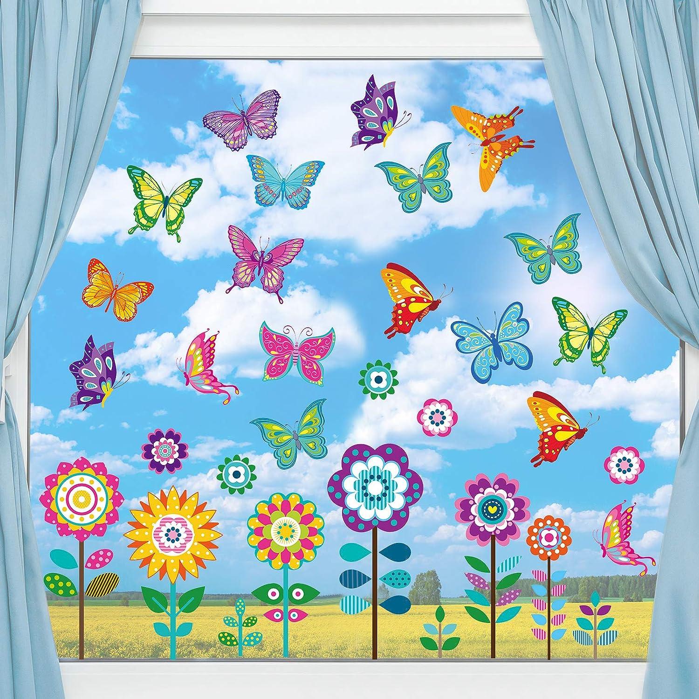 Autocollants de Fen/être de Printemps de Taille Large Autocollants de Fen/être de Papillon Fleur Autocollants Anti-Collision pour D/écoration de Baby Shower Fournitures de F/ête