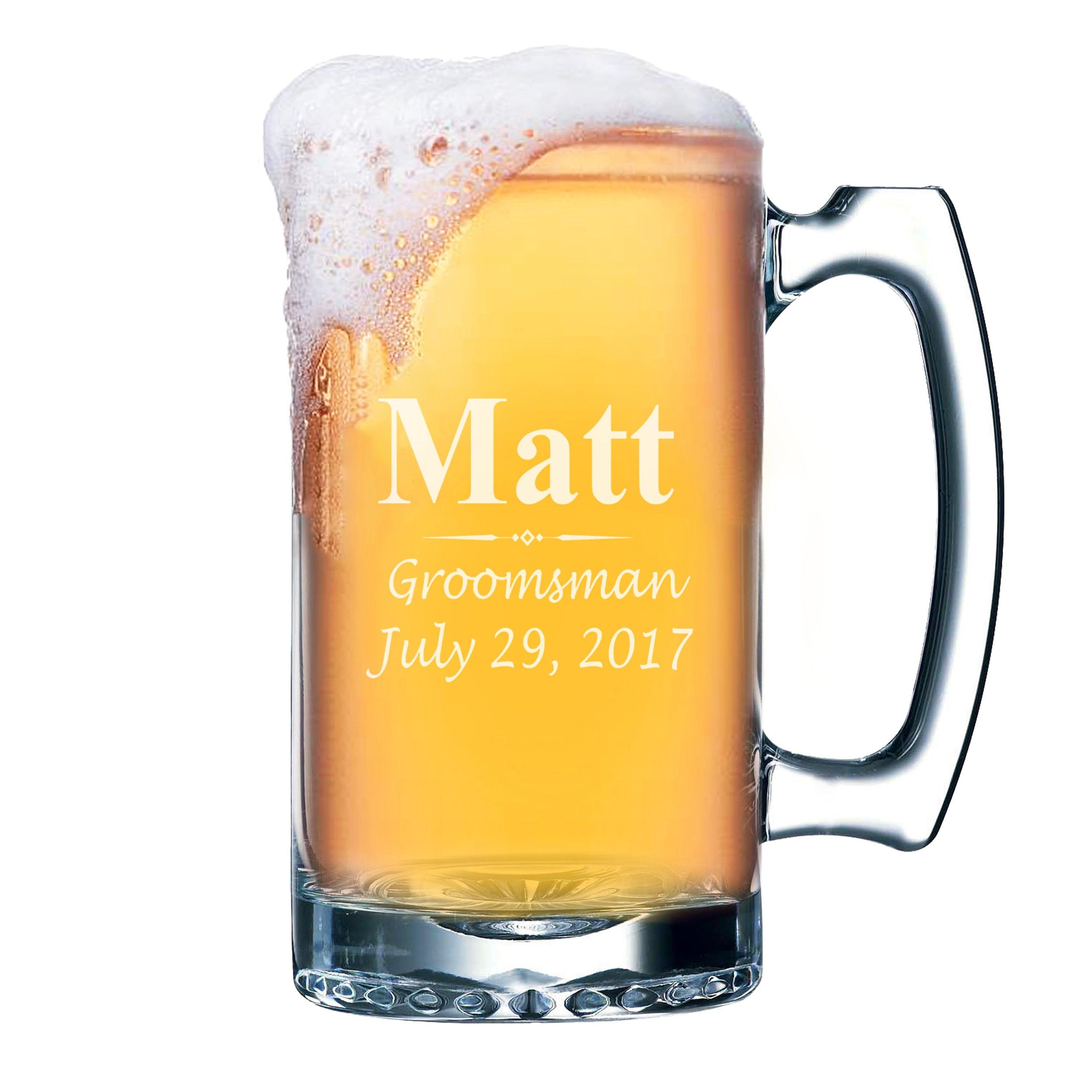 Custom Beer Mugs - Engraved Personalized Groomsmen Beer Glasses Gifts - 25oz - 3 Lines Design