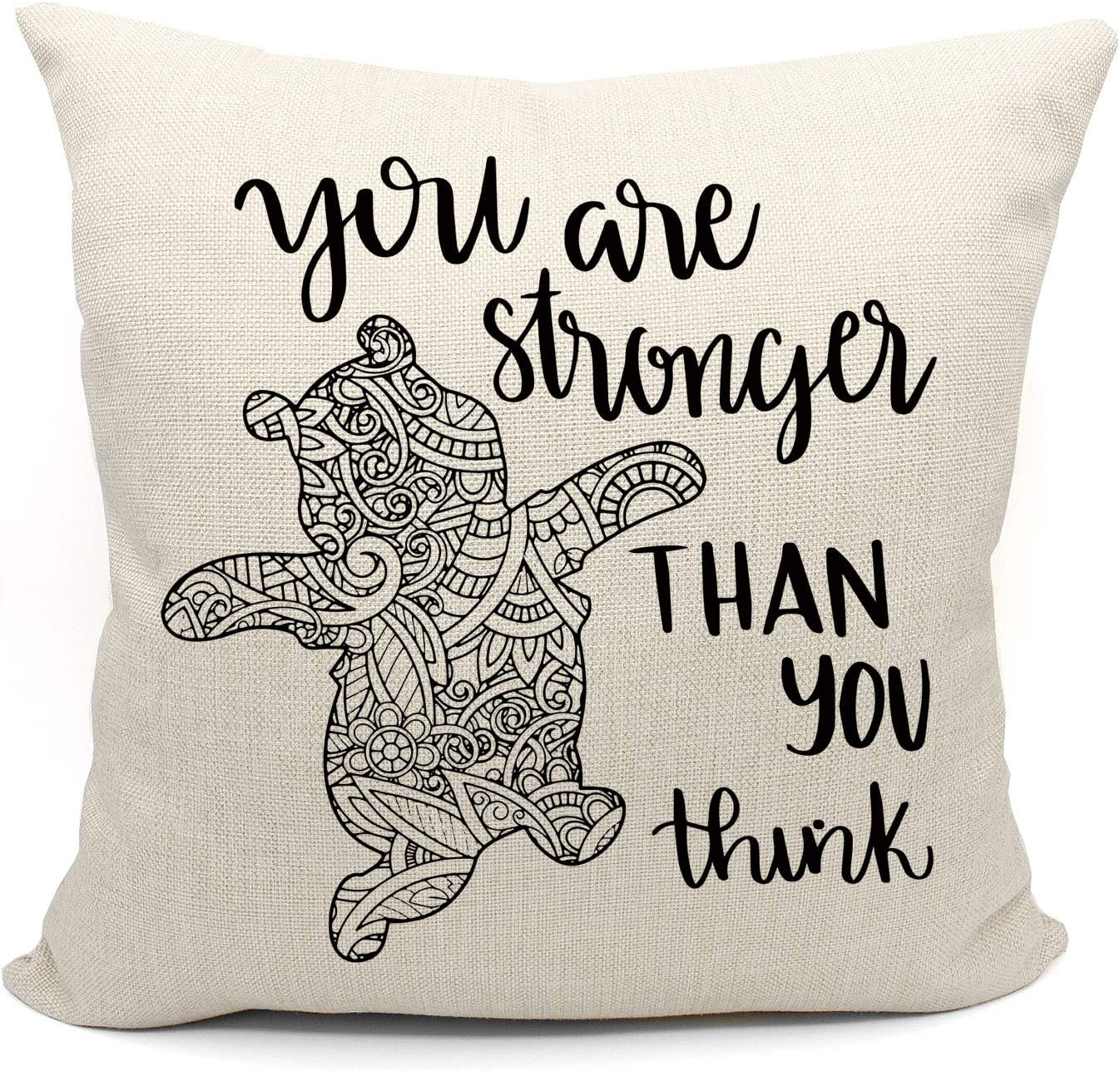 Inspirational Quotes You are Stronger Than You Think Throw Pillow Case, Daughter, Son Gifts from Mom and Dad, 18 x 18 Inch Winnie The Pooh Decor Linen Cushion Cover for Sofa Couch Bed