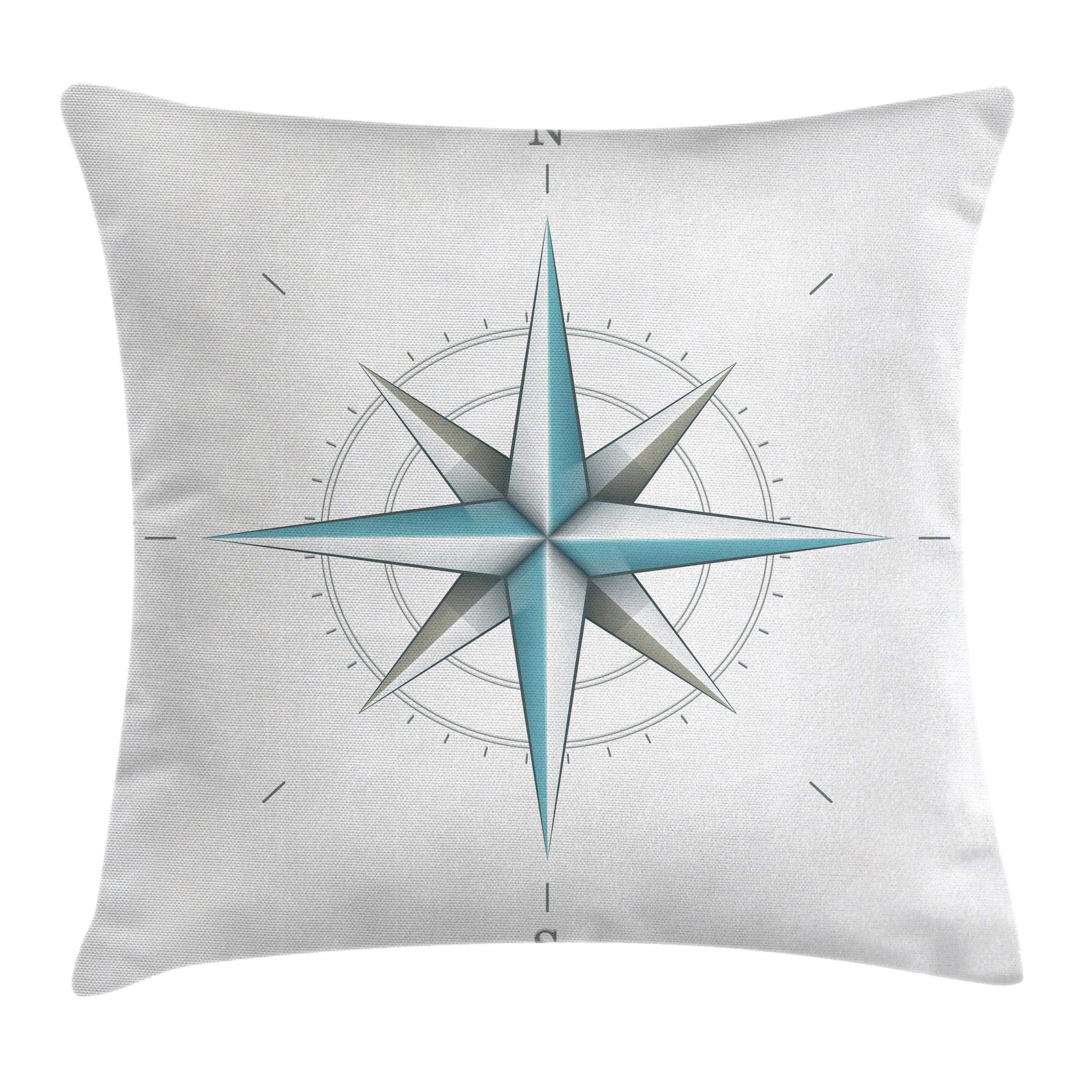 Ambesonne Compass Throw Pillow Cushion Cover, Antique Wind Rose Diagram for Cardinal Directions Axis of Earth Illustration, Decorative Square Accent Pillow Case, 24'' X 24'', Teal Dimgray by Ambesonne