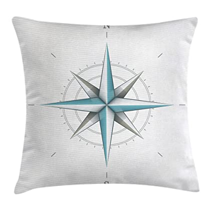 Ambesonne Compass Throw Pillow Cushion Cover, Antique Wind Rose Diagram for Cardinal Directions Axis of Earth Illustration, Decorative Square Accent ...