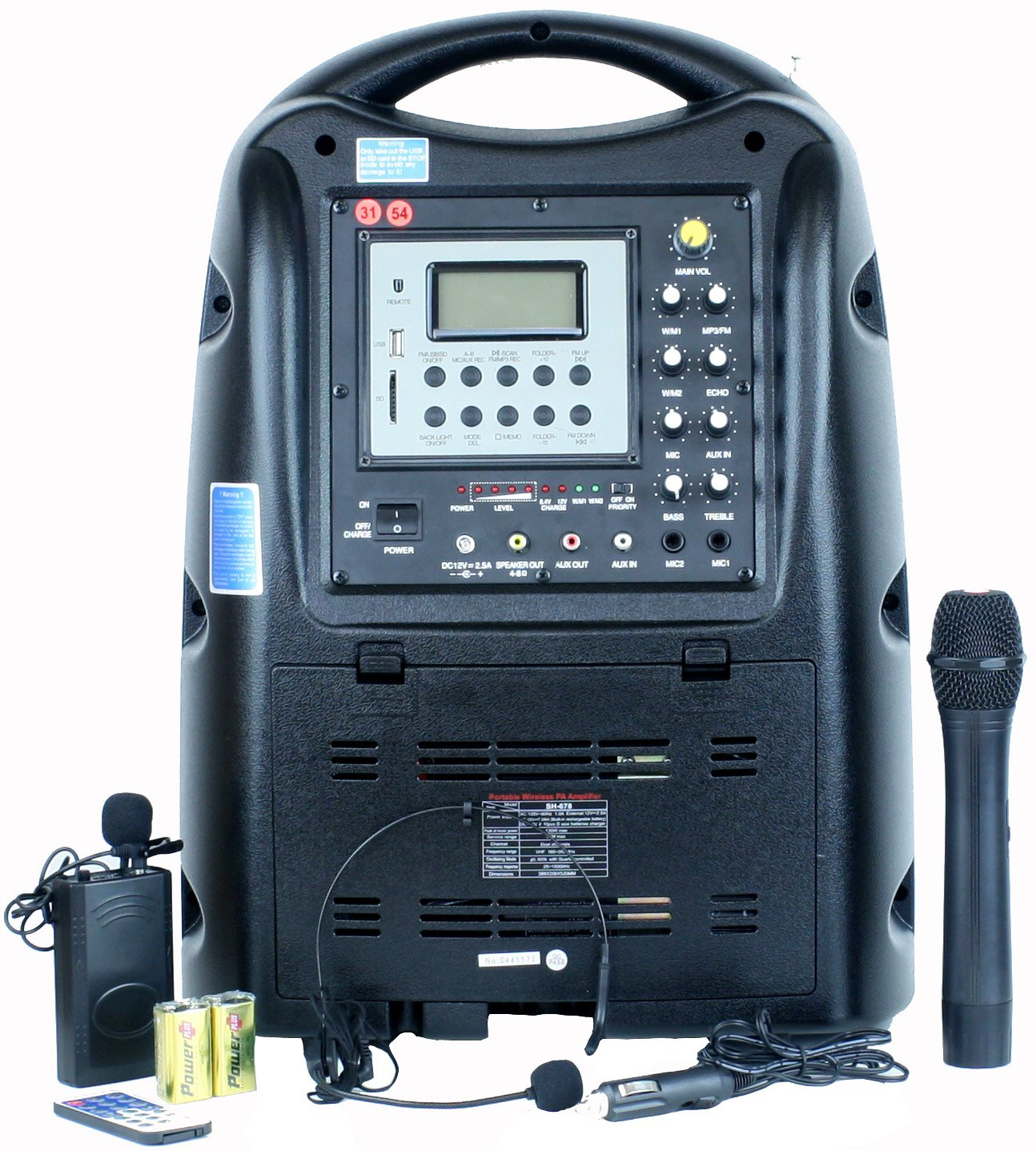 Hisonic HS678 Portable & Rechargeable 130 Watt PA (Public Address) System with Dual Wireless Microphone System & MP3 Player, Black