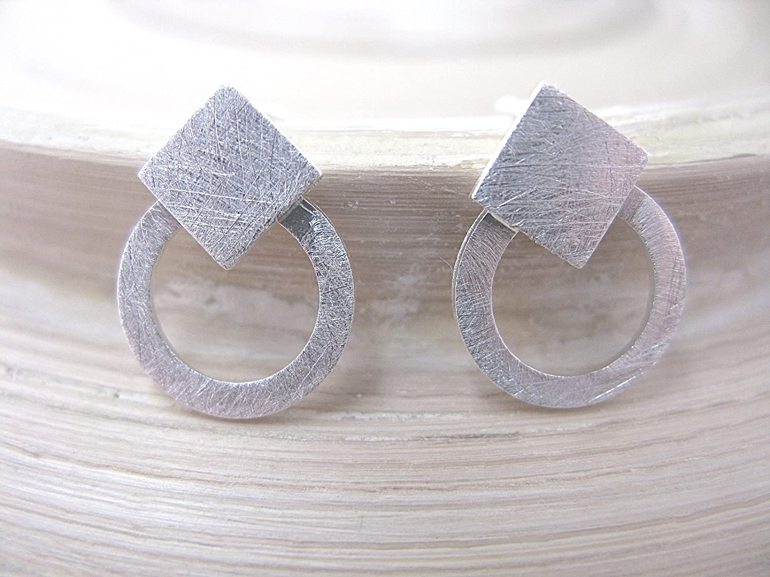 FaithOwl Geometric Square Circle Round Filigree Matte 925 Sterling Silver Stud Earrings